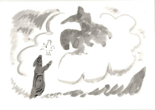 Рисунок - девушка и всадник на лошади