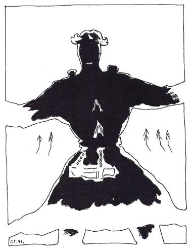 «Тонья-богатырь». Рисунок Г.С. Райшева, 1996 год. Из книги В.И. Семёновой «Поселение и могильник Частухинский урей».
